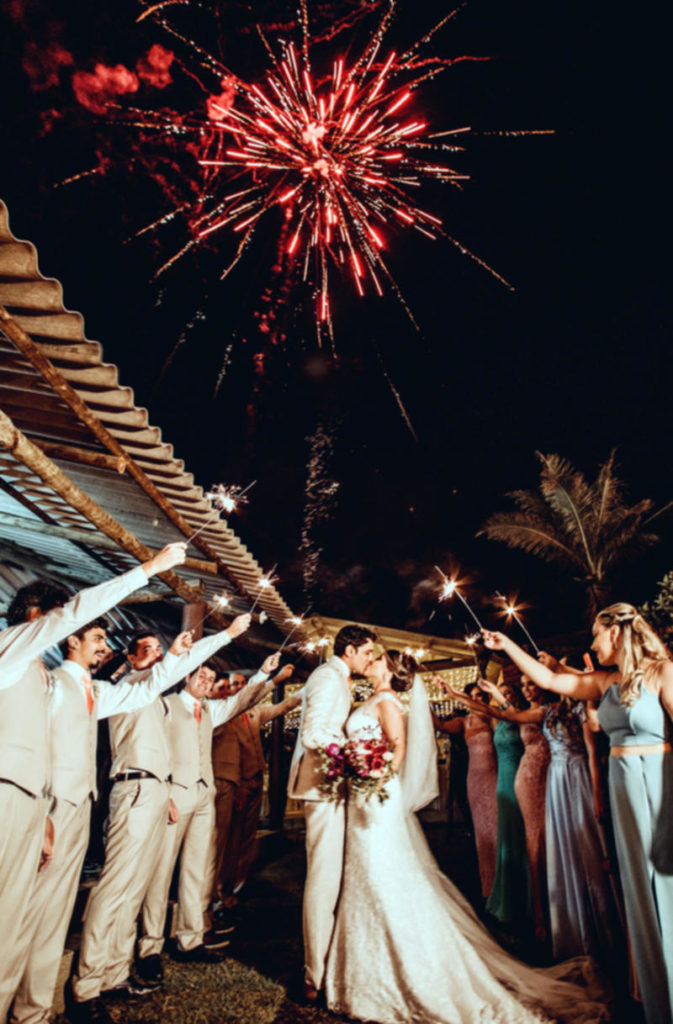 Fireworks display in Sardinia during a wedding