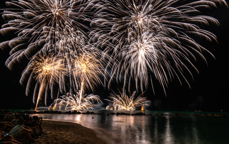 Fireworks in Sardinia on the sea