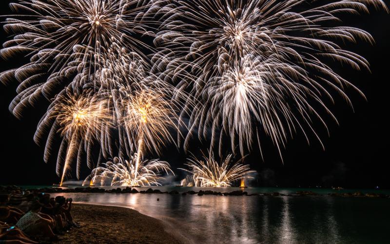 Fireworks in Sardinia on the sea