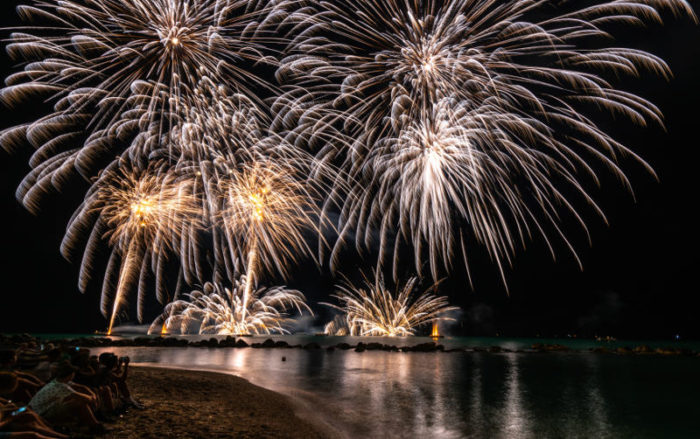 A fireworks display on the shores of Sardinia during a corporate event